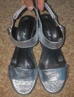 AVKstyle Womens Leather Sandals Silver Size 39 / 9 Platform European Brand New