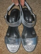 AVKstyle Womens Leather Sandals Silver Size 39 / 9 Platform European Brand New