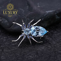 Natural Sky Blue Topaz 5.9Ct 925 Sterling Silver Vintage Spider Dresses Brooch