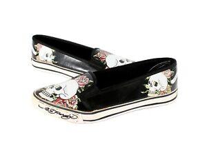 Ed Hardy Shoes Flats Skull Roses Size 6