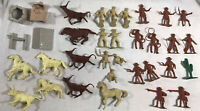 Vintage Marx 1960 Rifleman Ranch Playset Lot of 34 Figures/Accessories B000