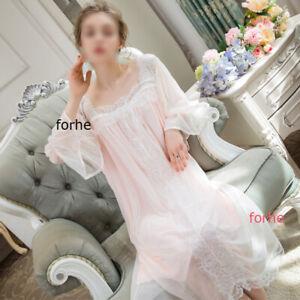 Women Vintage Princess Nightgown Sleep Dress Robe Sleepwear Soft Nightwear Lace