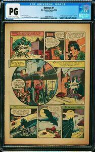 BATMAN #1 CGC PG ( NG single page ) 1st Joker Catwoman & Monster Men 2 Sided