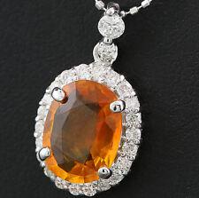 Colgante Zafiro naranja y Brillantes 3,10 quilates oro blanco 750 con cadena