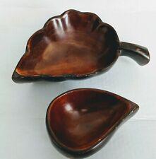 2 Vtg Hand Carved Mahogany Wood Wooden leaf Candy Bowls Trinket Dishes Haiti
