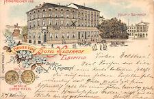 Elberfeld Hotel Kaiserhof, Bahnhof Litho Postkarte 1900