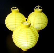5 x Yellow Paper Hanging Lantern Battery Chinese Party Lite