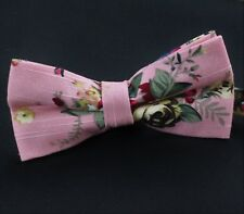 Bow Tie. Dusty Pink Floral. Cotton . Premium Quality. Pre-Tied. BV49