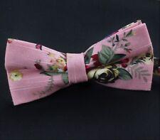 Corbata De Moño. el Algodón Rosa Floral. polvo. Calidad Premium. BV49 pre-atado.