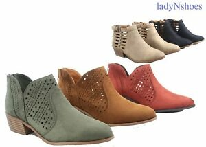 NEW Women's Almond Toe Stylish Western Cutout Low Heel Ankle Booties Shoes