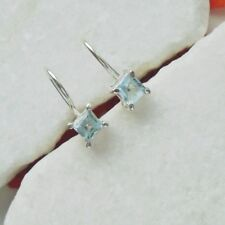 Blautopas eckig blau elegant schlicht Ohrringe Ohrhänger 925 Sterling Silber neu