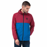 Mens Timberland Colour Block Windbreaker Jacket In Red Blue- Zip Fastening- Zip