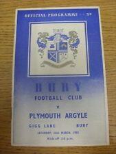 26/03/1955 Bury v Plymouth Argyle (piegato, lievi RUSTY GRAFFETTE). grazie per vi