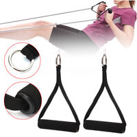 1/2pc Black Tricep Rope Cable Attachment Handle Bar Resistance Gym Training