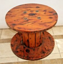 Vintage Industrial heavy duty wooden spool table acrylic resin top and sides