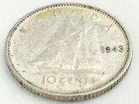 1943 Canada Ten 10 Cents Silver Dime Canadian Circulated George VI Coin J955