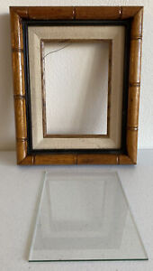 "Vintage Bamboo Wood Frame With Glass 9x11"" Holds A 5x7"""
