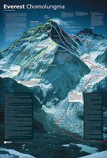 MOUNT EVEREST REVEALED Spectacular Climbing Map History Wall Chart Poster