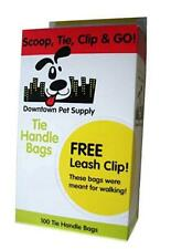 100-pk Downtown Pet Supply Tie Handle Bags Free Leash Clip FAST SHIP! AC3