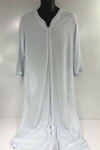 Miss Elaine PETITES Size MEDIUM Long Bathrobe Housecoat Womens Blue Lounge Wear
