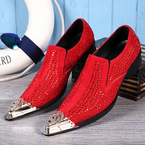 Rhinestone Men Party Pu Leather Wedding Dress Pointed Toe Formal Shoes Big Size