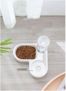 Automatic Water Double Bowls Pet Cat Feeder Bowl Dog Corner Drinking Bottle Wall