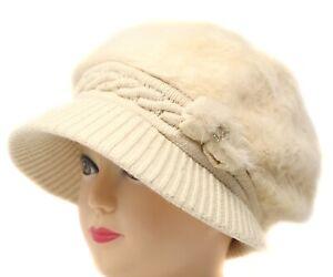 Women Winter Visor Beanie Rabbit Fur Beret Baggy Hat Crochet Cap Warm Slouch NEW