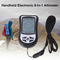KQ_ 8 IN 1 OUTDOOR FISHING HANDHELD COMPASS GAUGE ALTIMETER THERMOMETER BAROMETE