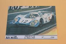 QI Certificat autocollant  PORSCHE 917 LH Le mans 1969 pour socle Heco 1/43