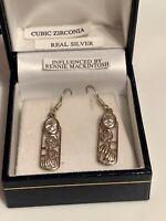 Vintage Sterling Silver Cz Mackintosh Style Dangle Drop Earrings