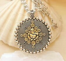 BIG Designer Ganesh Ganesha Pendant Silver Gold Pendant Necklace Handmade Pouch