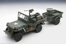 1 18 Autoart Jeep Willys (esercito Verde) (con Trailer/accessories Incluso) 1943