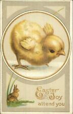 Easter - Sweet Chick & Bunny Rabbit Series #100 c1910 Postcard