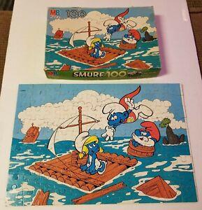"""SMURFS Peyo 100 piece JIGSAW PUZZLE 16"""" x 11"""" MB Milton Bradley Complete 4190-6"""