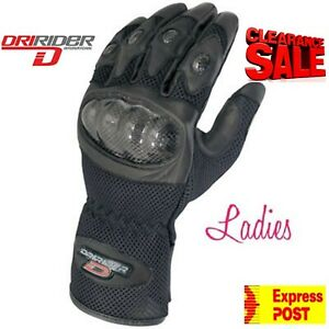 CLEARANCE! NEW DRIRIDER Female Motorcycle gloves Ladies 2XS Summer Womens vented