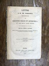 F. Lajard - Lettre à Th Panofka Peintures Grottes Marzi Querciola 1833 ÉTRUSQUES