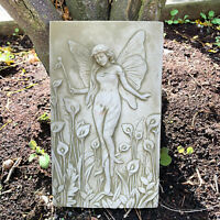 Stone Garden Statue Ornament Sculpture Lily Lady Fairy Wall Hanging Plaque Art