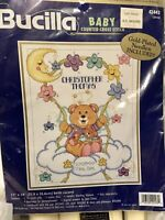 Bucilla BABY CELESTIAL BIRTH RECORD 14 Count Aida Cross Stitch KIT Announce NEW!
