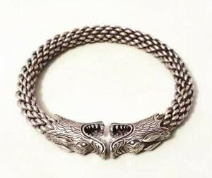 Collectible Antique Tibet Silver Bangle Handwork Auspicious Wolf Bracelet