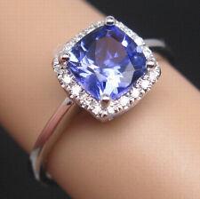 SOLID 14K WHITE GOLD STUNNING BLUE TANZANITE ENGAGEMENT DIAMOND WEDDING RING