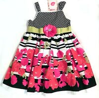 Girls Floral Sun Dress Size 4 Pink Black Cotton Sleeveless New Sweet Heart Rose