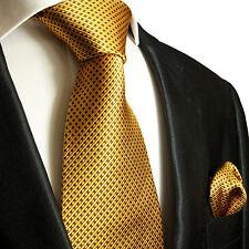 Gold braunes Krawatten Set 2tlg Seidenkrawatte + Einstecktuch 949