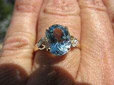 Blue Topaz Oval Cut & Diamond Ring 10KT SOLID YG