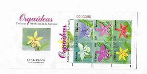 EL SALVADOR 1999 ORCHIDS FLOWERS SET OF 6 STAMPS 2 FIRST DAY COVER 2 FDC FLORA