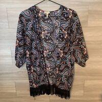 Lily White Women's Sz L Short Sleeve Kimono Cardigan Floral Boho