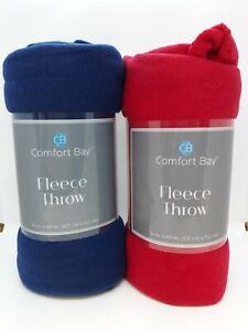 """NEW Set of 2 Comfort Bay 50"""" x 60"""" Fleece Throw Blankets ~ Blue & Red"""