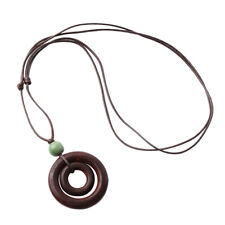 Fashion Creative Chic Double-circle Brown Rope Chain Resin Wood Necklace S