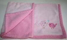 "Baby Gear Birds Chicks Girls Baby Blanket Heart Corner Pink Soft Shepra 29x30"""