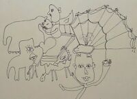 GEWISGOLD ARGENTINA 1976 SURREAL MODERN ABSTRACT FIGURE PORTRAIT STUDY DRAWING