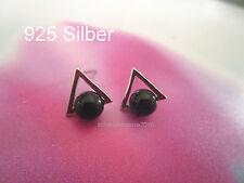 925 Silber -Triangel schwarz  Achat Perle -Ohrstecker- Ohrring Creolen Mode2017